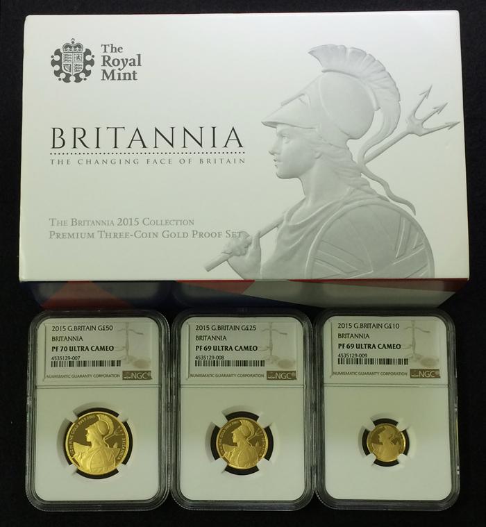 英国 イギリス ブリタニア エリザベス プルーフ金貨 3枚セット 2015年 50ポンド 25ポンド 10ポンド NGC PF70 ULTRA CAMEO