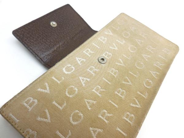 BVLGARI ブルガリ ロゴマニア 三つ折り 長財布 キャンバス_画像4