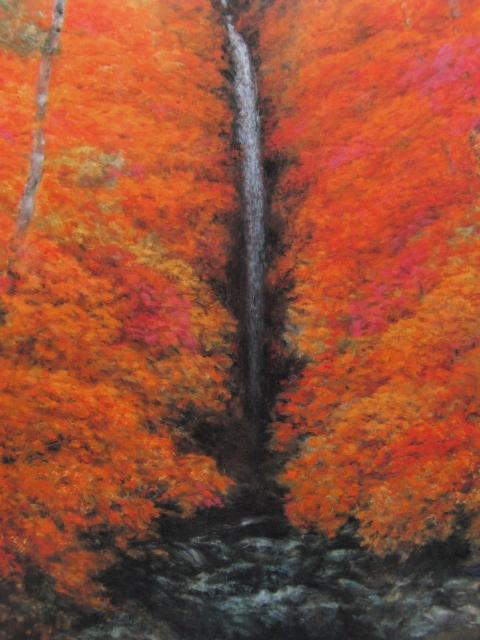 奥田元宋、【秋燿細瀑】、希少画集より、状態良好、新品高級額装付、送料無料、日本画 和風 日本の画家、風景画 紅葉 滝_画像2