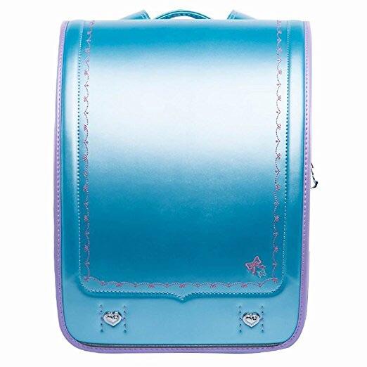 最終出品です ランドセル 高級感 A4フラットファイル対応 ワンタッチロック お姫様 プリンセス 女の子用 新品 ライトブルー スカイブルー