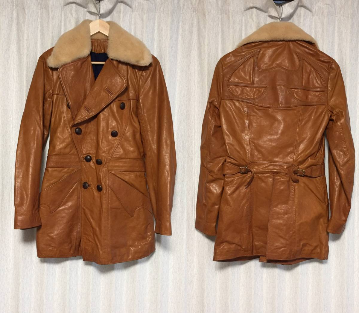 Extremely rare ☆ [East West Musical Instruments] 70s Pcoat Collared Mouton All Leather Long Pea Coat 36 East West