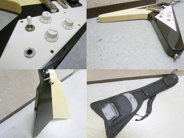 メーカー不明 フライングV タイプ エレキギター ケース付き(3733)_画像3