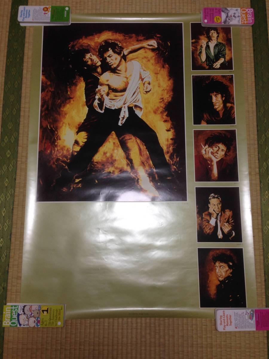 The Rolling Stone ローリングストーンズ ポスター 超貴重品 激レア ロン・ウッド自身による版画作品のポスター 1991年頃 ライブグッズの画像