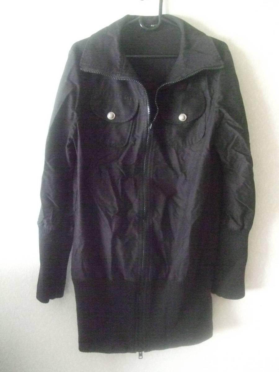 【レディースUSED】alcali / BK アウターコート 両肩の生地の継ぎ目間の直線距離・・40cm 後身頃の中心から裾まで・・・69cm