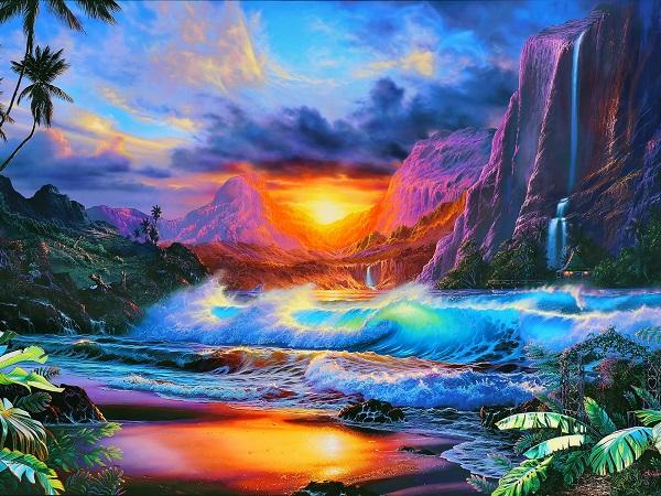 クリスチャン・ラッセン 手彩入大型版画 隠れイルカ 豪華額装 本物保証 ハワイ マウイ 海