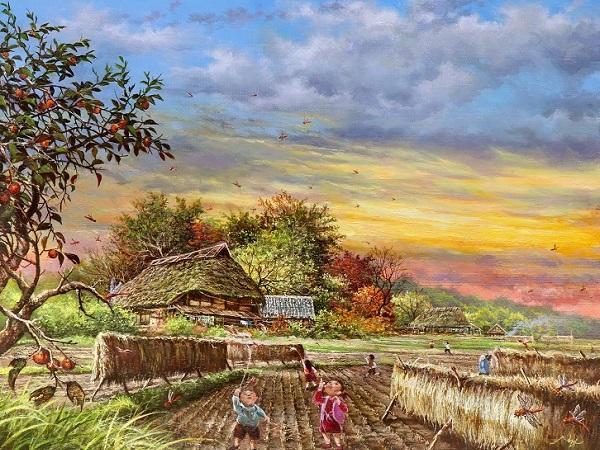 原風景巨匠 大友一美 赤とんぼ 油絵 真作保証 秋 夕景 古民家 田舎風景 稲刈り 柿の木 夕
