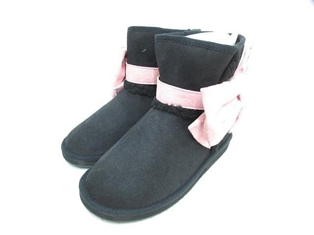 ブーツ ショート フェイクムートン シューズ 靴 リボン 黒 ブラック ピンク LL