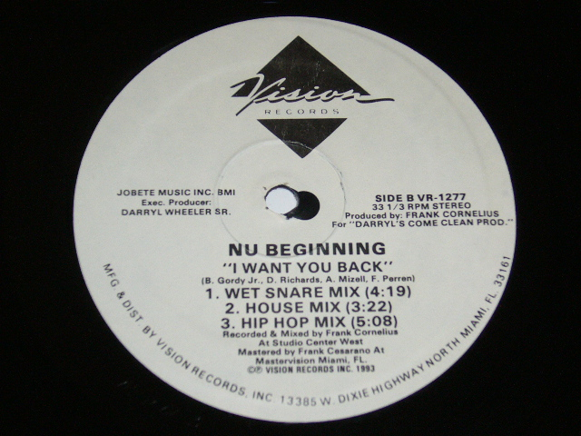 NU BEGINNING/I WANT YOU BACK/ 1993年盤 / VR-1277 / USA盤 / 試聴検査済み_画像2
