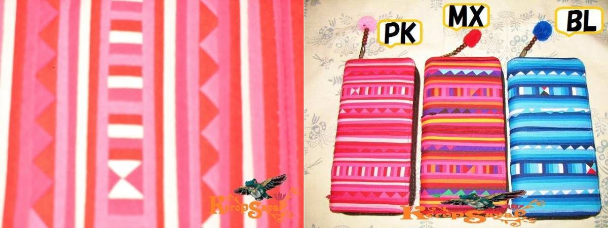 カラフル幾何学模様☆タイの山岳民族リス族 長財布PKピンク系 アジアンエスニック雑貨 ハンドメイド
