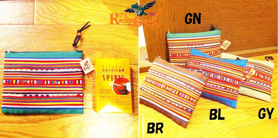 カラフル幾何学模様☆タイの山岳民族リス族ポーチGN緑色 アジアンエスニック雑貨 タバコカードケース小銭入れに♪