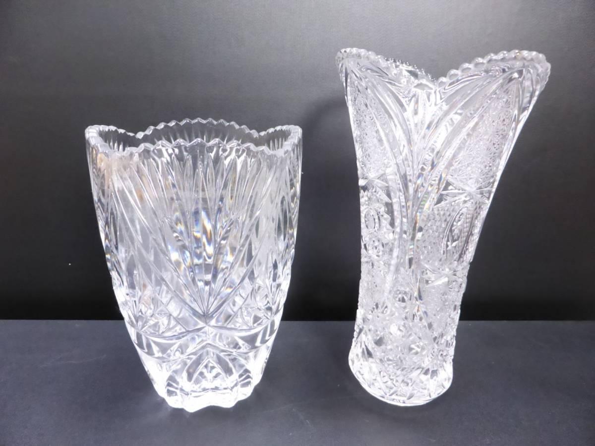 クリスタルガラス ★ フラワーベース 花瓶 インテリア 置物 ☆ お洒落 オブジェ ★ 全長28cm/23cm 2点セット_画像1