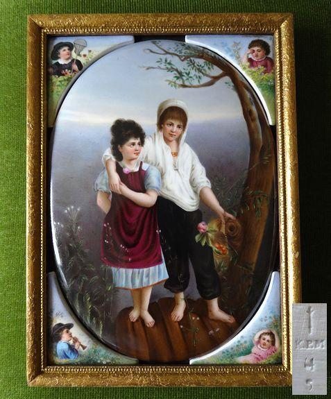 ◆KPM真作◆特大判19世紀ドイツ手描き陶板画 可愛い子供たち 保証