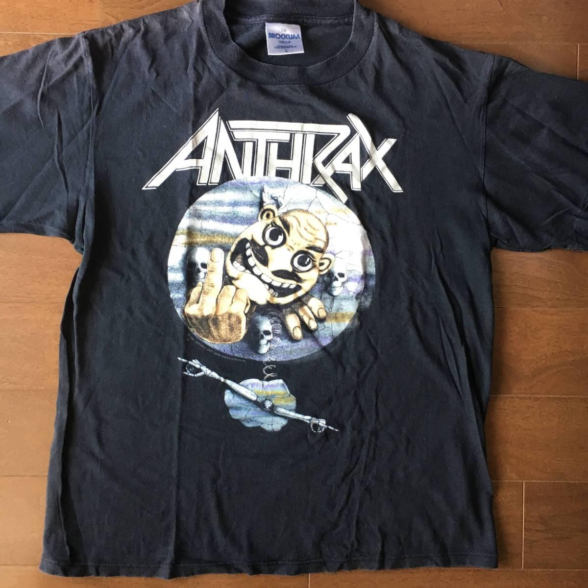 ビンテージ 超激レア ロックTシャツ ANTHRAX アンスラックス NOTMAN ノットマン 1991 黒 Lサイズ 古着 バンドTシャツ vintage metalliaca