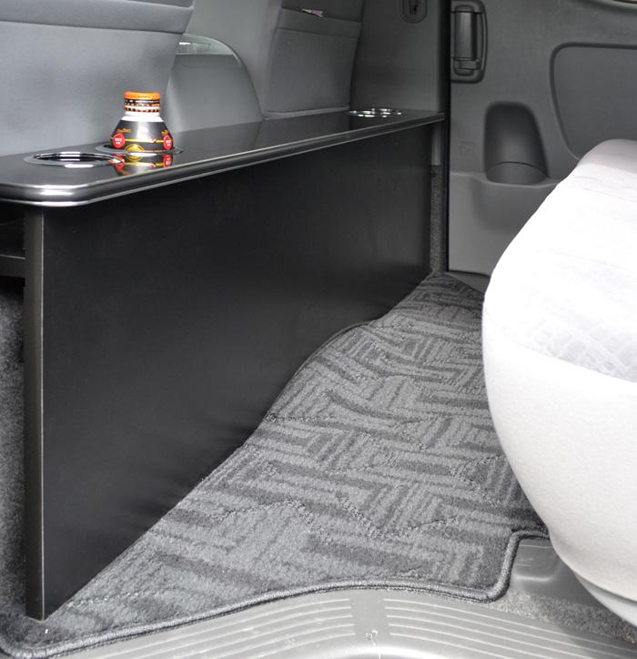 ラスト!【ハイアットSP】 トヨタ 200系 ハイエース 標準S-GL 1~4型 セカンドテーブル カーボン ドリンクホルダー4個