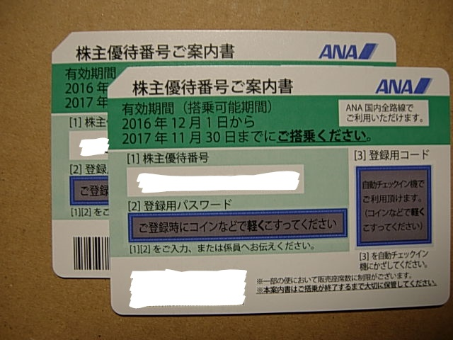 ANA株主優待券 2枚セット 11月30日まで 送料込
