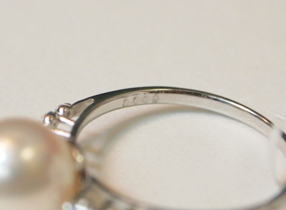 新品 プラチナ900製 アコヤ 本真珠 8.5mm珠 & 両サイド ダイヤ スリム デザイン リング/Pt/あこやパール/シンプル 細身 定番/冠婚葬祭_ダイヤのカラット数刻印