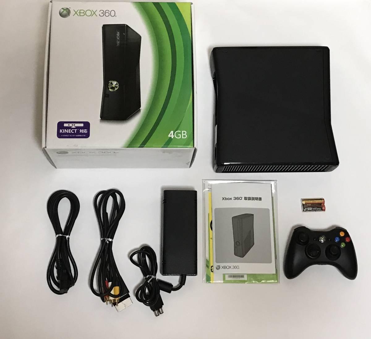 1円スタート Xbox 360 S 4GB リキッドブラック 付属品 完品 動作確認済み 動作良好品