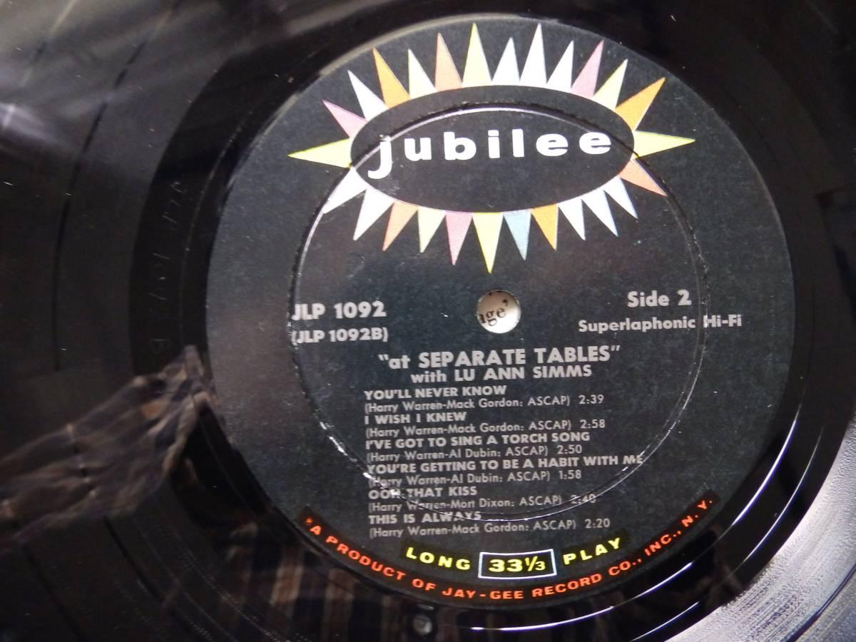 【米-JUBILEE-オリジナル盤】 ・ ルー・アン・シムス ・ LU ANN SIMMS / SEPRATE TABLES 歌もの隠れ名盤!_画像3