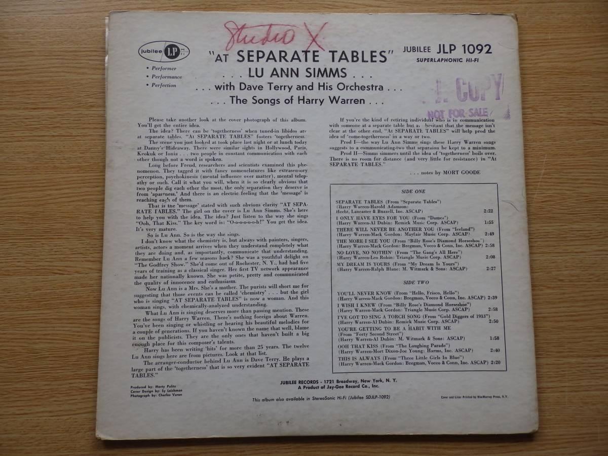 【米-JUBILEE-オリジナル盤】 ・ ルー・アン・シムス ・ LU ANN SIMMS / SEPRATE TABLES 歌もの隠れ名盤!_画像2
