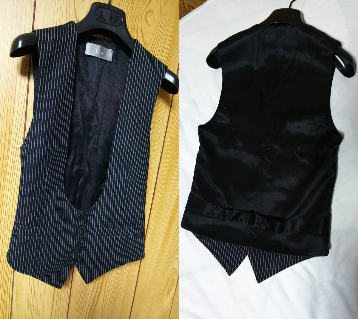 国内正規 美 Dior Hommeディオールオム Uカットドレスジレ黒 ブラック×ストライプベスト 最小38 XXS 6H エディ期 ジャケット以上の存在感!_画像8