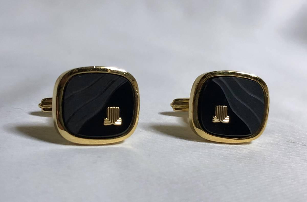 正規美レア ランバンLANVIN ヴィンテージ ロゴスクエアカフス黒×金 ブラック×ゴールド アンティークカフリンクス アイコンブロックボタン