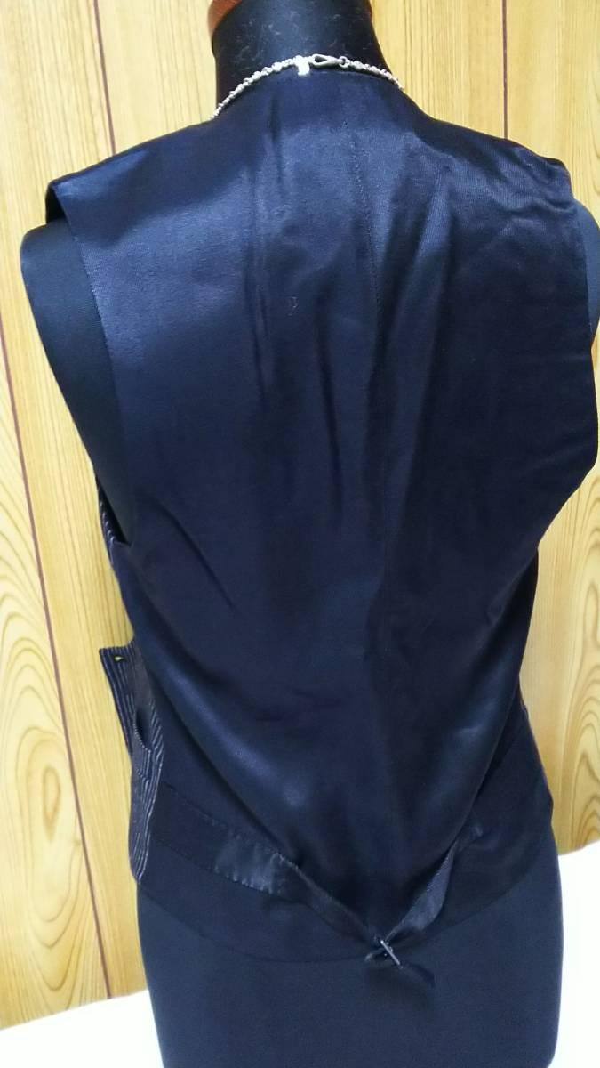 国内正規 美 Dior Hommeディオールオム Uカットドレスジレ黒 ブラック×ストライプベスト 最小38 XXS 6H エディ期 ジャケット以上の存在感!_画像7