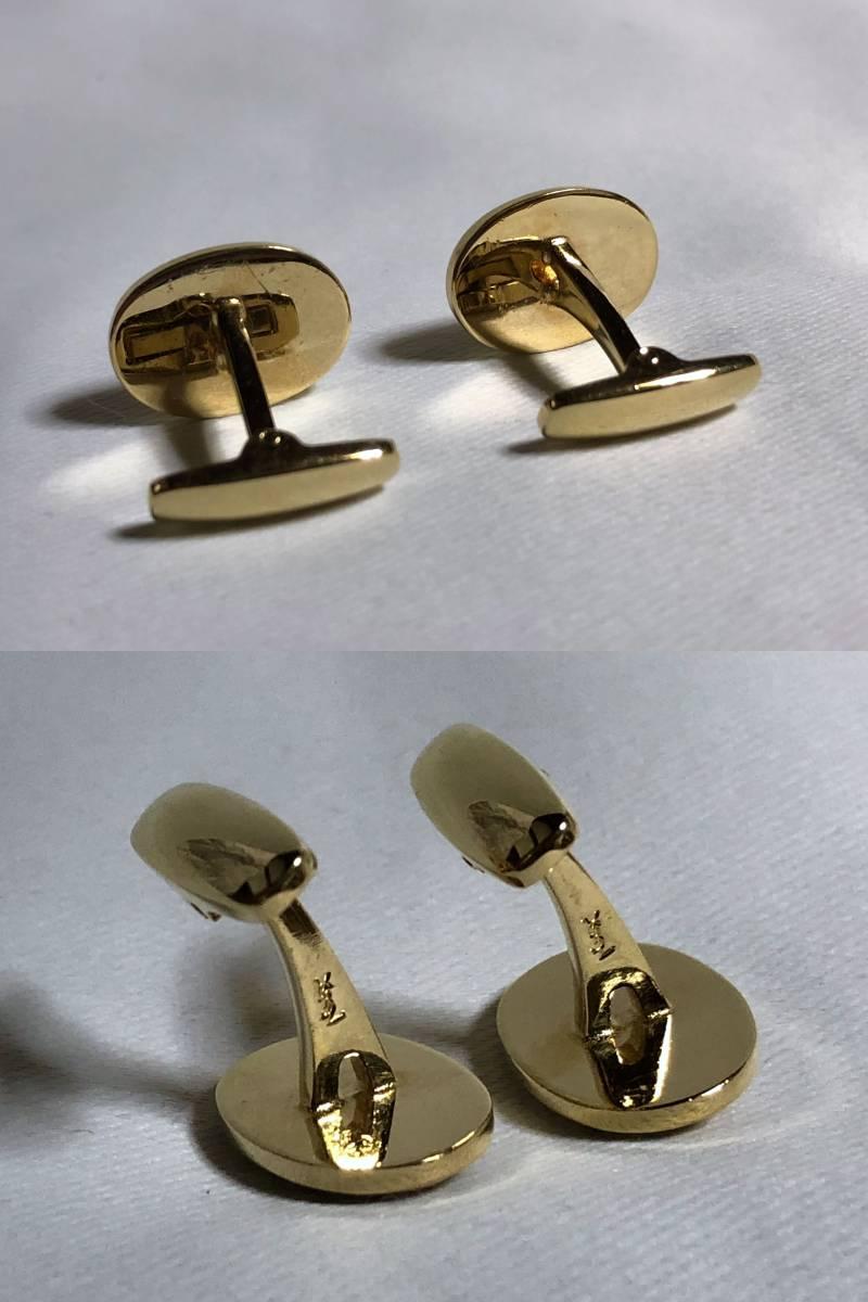 正規美 希少! Yves Saint Laurent イヴサンローラン YSLロゴ ホワイトシェル×パターンラインカフス ゴールド オーバルカフリンクス ボタン_刻印