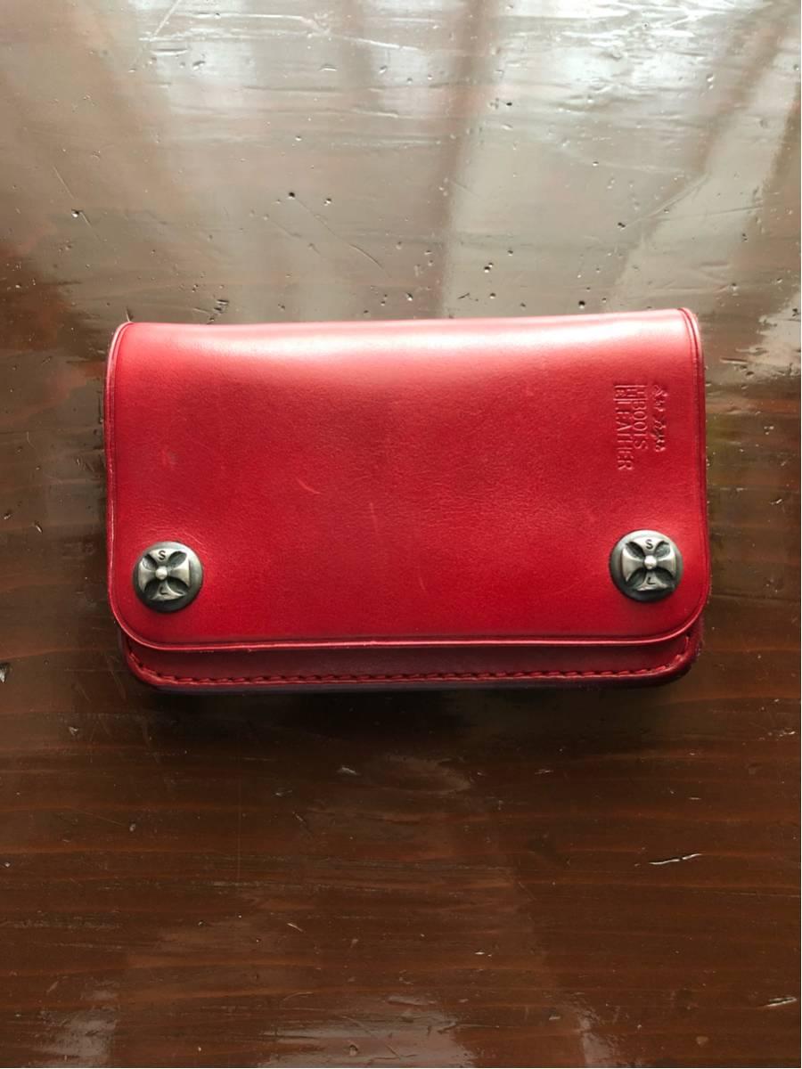 【美品】ストップライト ミドルウォレット 赤 stop light スカル ピストン バングル ネックレス チェーン 財布 コインケース