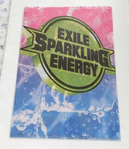 EXILE キリン 元気炭酸 クリアファイル キリンレモン グッズ 未使用 未開封 ドリンク エグザイル 非売品 ピンク 水色 グリーン ロゴ_画像1