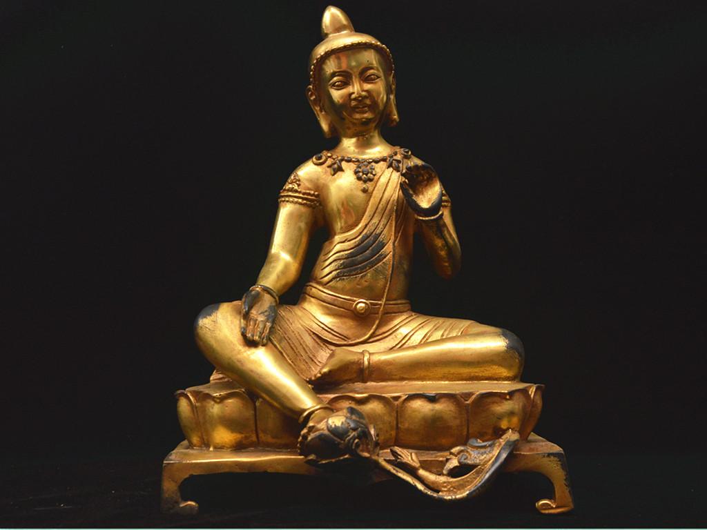 旧蔵 北魏時期 銅製金鍍 ★観音菩薩自在像★ 館蔵級仏像