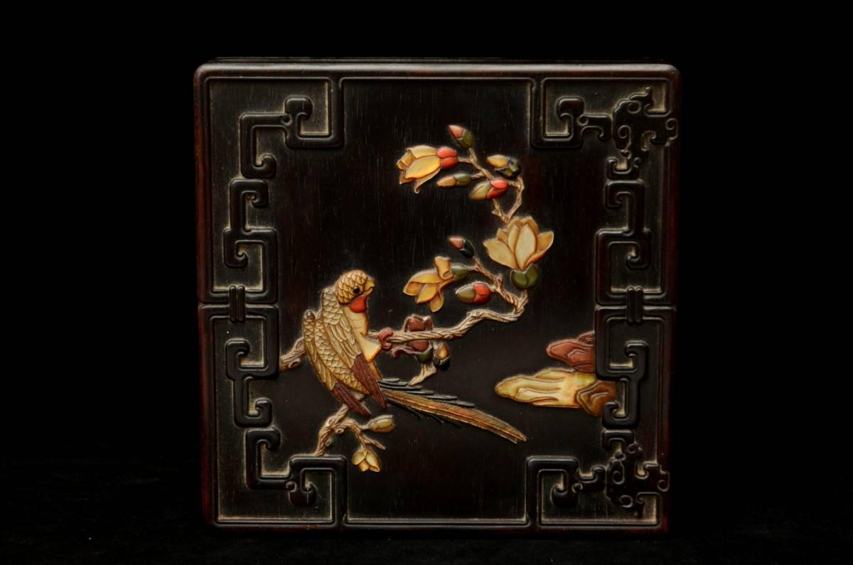 ●時代唐物●本檀木精彫 貝殻象嵌 百宝嵌 古時代食箱