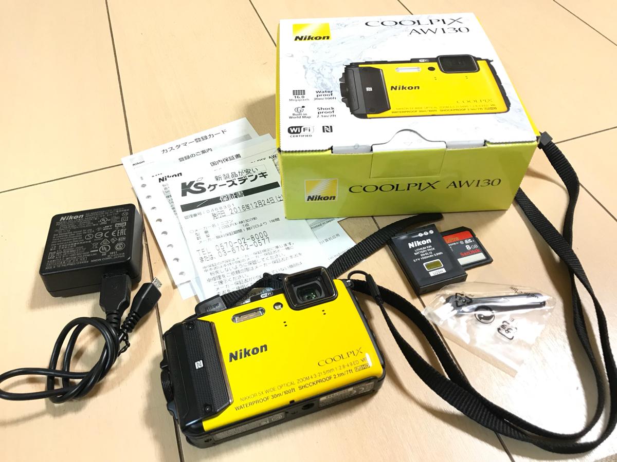 ほぼ新品、メーカー保証付 8Gバイトメモリ付 Nikon COOLPIX AW130 イエロー(黄色 クールピクス 防水 ゴープロ 水中カメラ gopro)