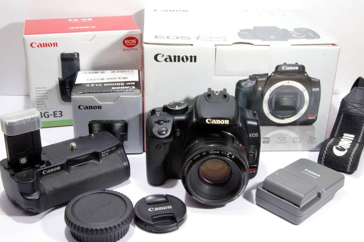 CANON キャノン デジタルカメラ EOS KISS X 50mm f1.8 Ⅱ バッテリーグリップ BG-E3 付き 綺麗です!