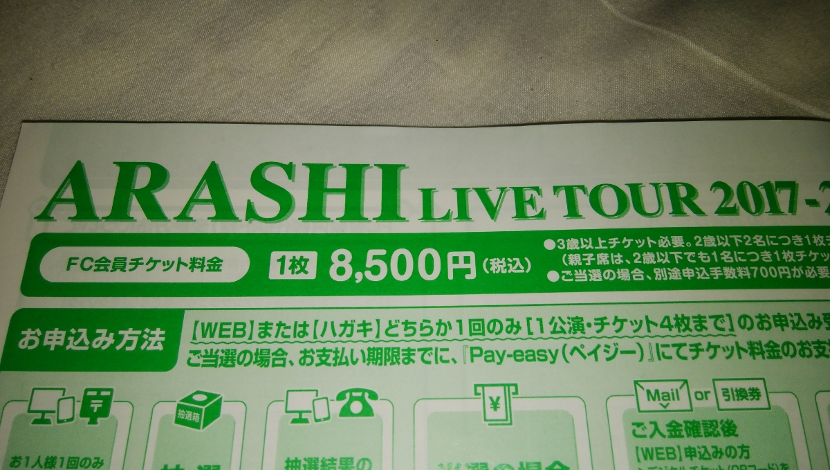 FC当選 嵐 ARASHI 1/13(土) 京セラドーム大阪 4枚連番