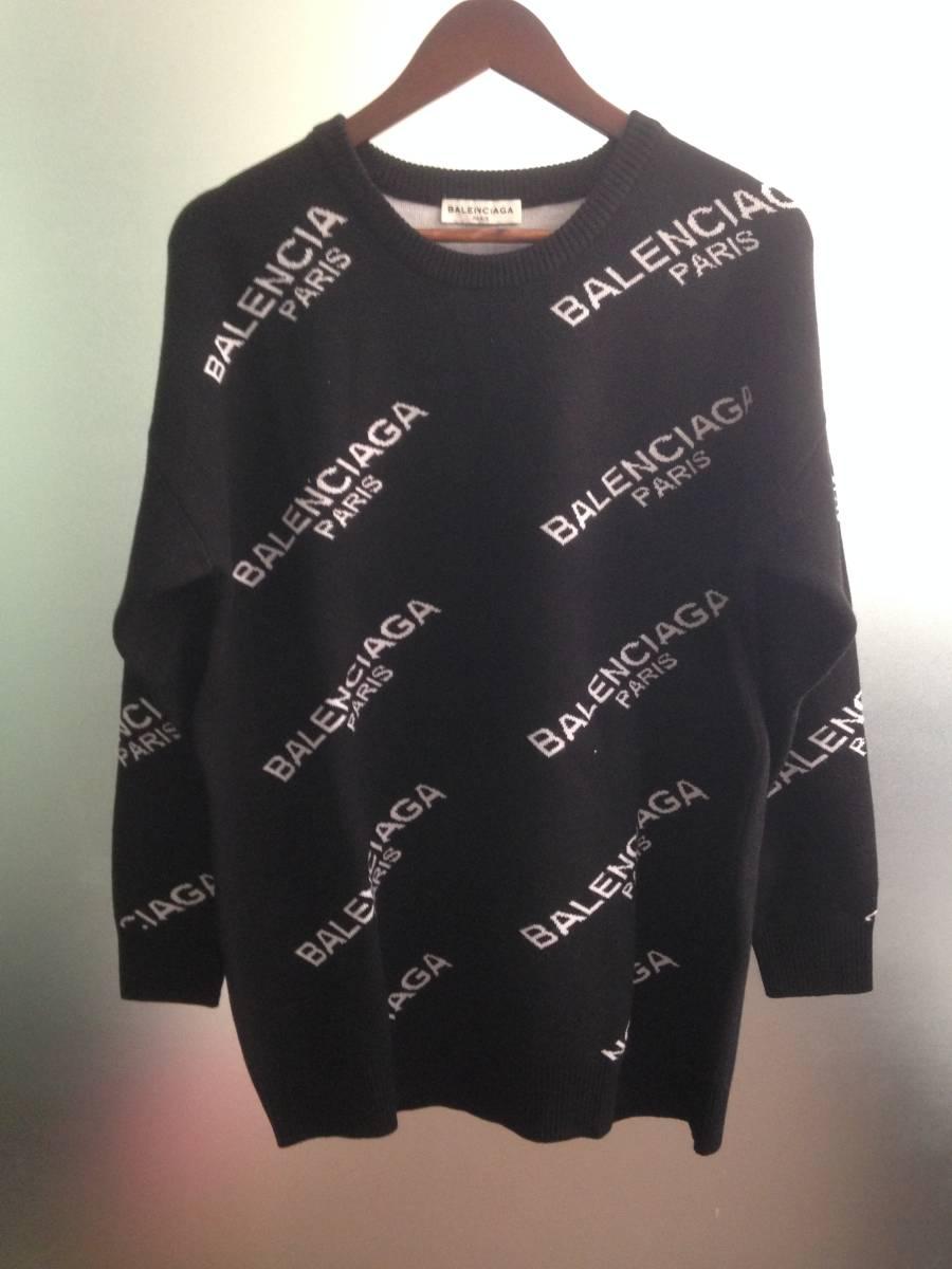 Balenciaga バレンシアガ ロゴ ニット セーター ブラック サイズ38