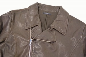 URBAN RESEARCH ROSSO アーバンリサーチ ロッソ ダブルライダースジャケット L BROWN ブラウン DOUBLE RIDERS JACKET LEATHER ラムレザー_画像3