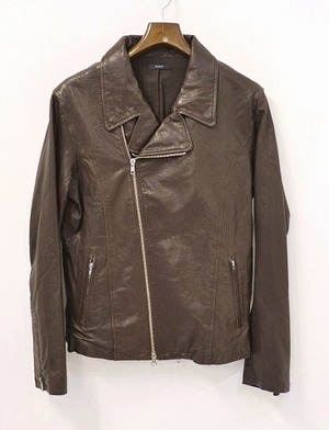 URBAN RESEARCH ROSSO アーバンリサーチ ロッソ ダブルライダースジャケット L BROWN ブラウン DOUBLE RIDERS JACKET LEATHER ラムレザー_画像1