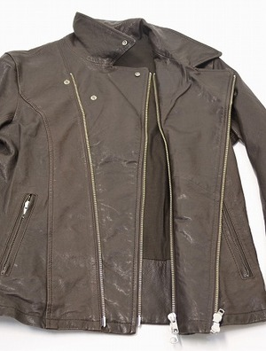 URBAN RESEARCH ROSSO アーバンリサーチ ロッソ ダブルライダースジャケット L BROWN ブラウン DOUBLE RIDERS JACKET LEATHER ラムレザー_画像4