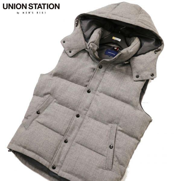UNION STATION メンズビギ フーデッド ウール ダウン ベスト Sz.04 メンズ c310tc430