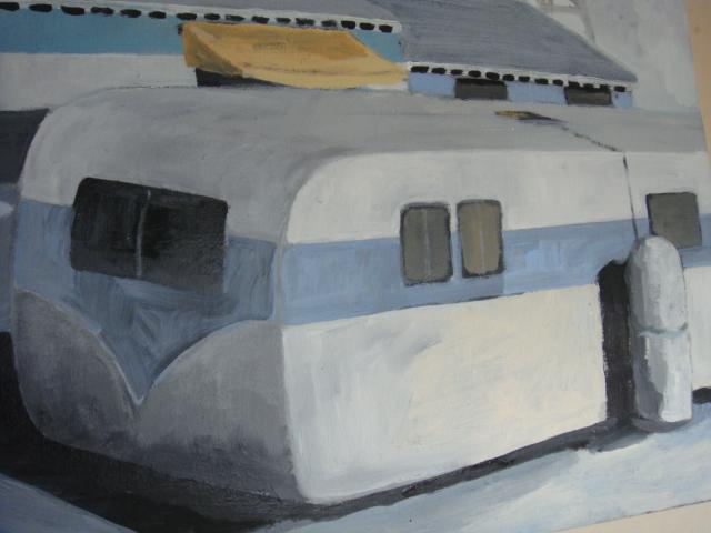 ◆ Donald lloyd smith ドナルド・ロイド・スミス/Palm Springs Artist エアストリーム 90's油彩画 検 デヴィッド・ホックニー_画像2
