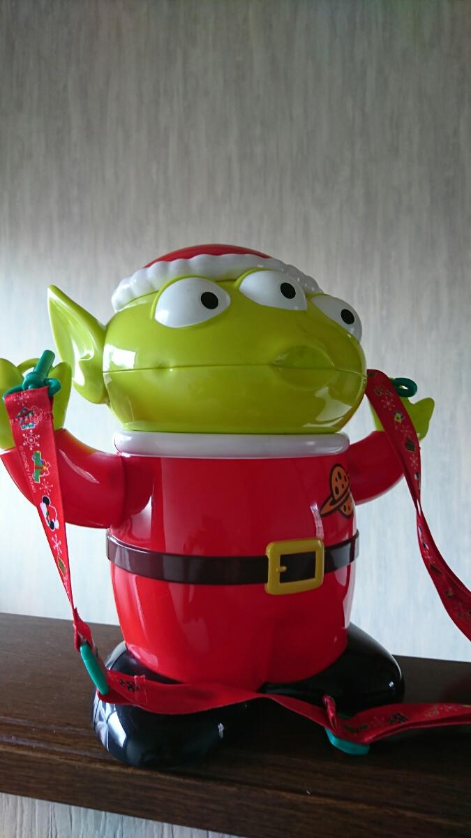 即決!ディズニー ポップコーンバケット クリスマス エイリアン リトルグリーンメン トイ・ストーリー フィギュア サンタクロース 赤 ディズニーグッズの画像