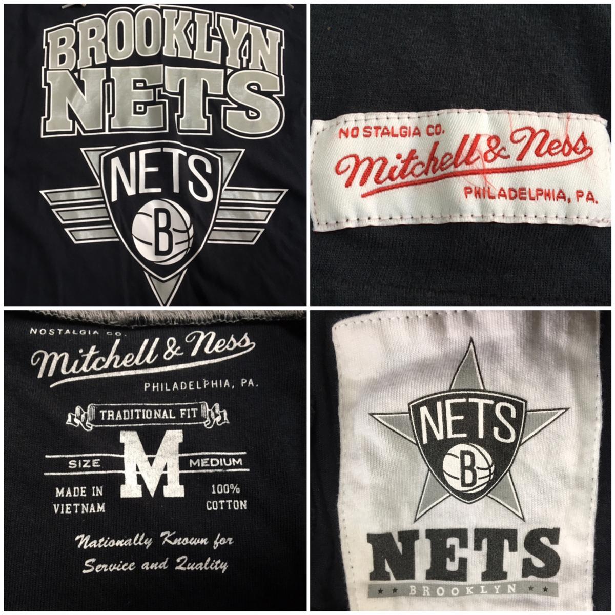 美品【mitchell&ness ミッチェル&ネス 】Brooklyn NETS ブルックリン ネッツ バスケ バスケットボール basketball チーム フード Tシャツ_画像3