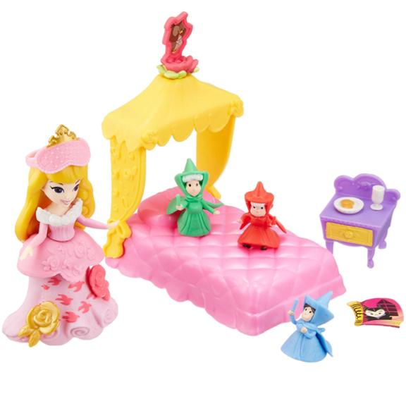 新品 ディズニー リトルキングダム プリンセス オーロラ姫とおやすみベッド オーロラ姫 眠れる森の美女 フィギュア ディズニーグッズの画像