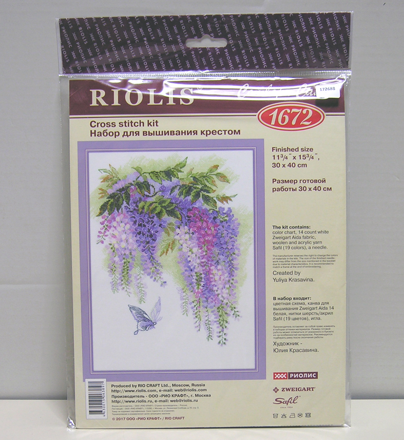 "/""Wisteria/"" Counted Cross Stitch Kit RIOLIS 1672"