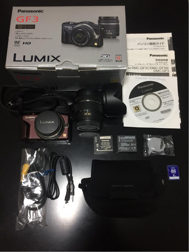 【美品】LUMIX DMC-GF3W ブラウン ダブルレンズキット ケース付 予備バッテリー付