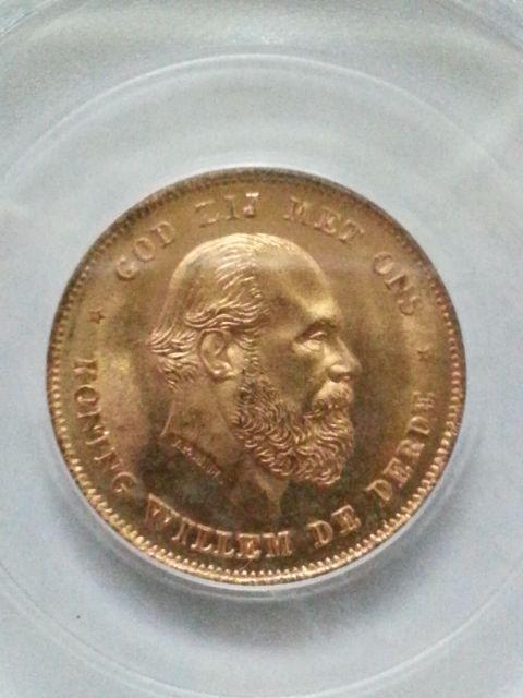 ▲希少▲ 1875 金貨 オランダ ウィリアム3世 10グルデン MS67_画像2