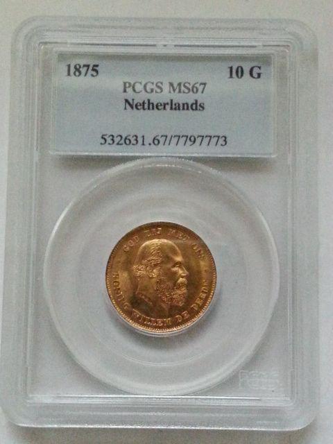 ▲希少▲ 1875 金貨 オランダ ウィリアム3世 10グルデン MS67_画像1