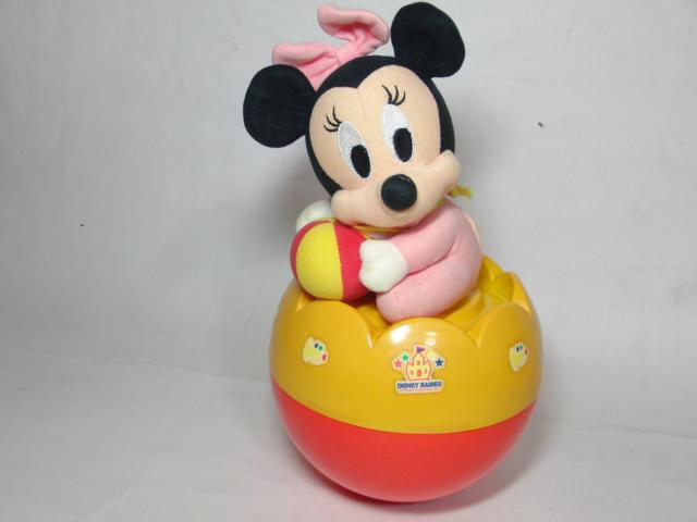 25cm ディズニー 起き上がりこぼし ベイビーズ ミニーマウス おきあがり Disney ディズニーグッズの画像