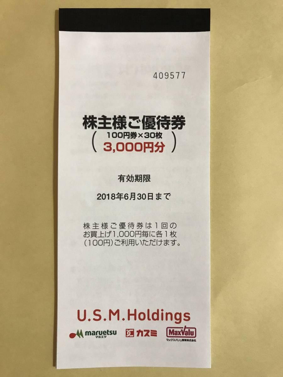 ◆ 最新 送料無料 ユナイテッド・スーパーマーケット USM 株主優待 3000円分 100円券×30枚 マルエツ カスミ マックスバリュー関東