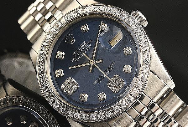 ◆ロレックス デイトジャスト 1601 コバルトブルーSS×6&8ダイヤモンド 希少品 OH済◆